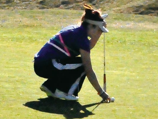 Ruidoso High School golfer Kaylor Grado is seen teeing up at the Links at Sierra Blanca.