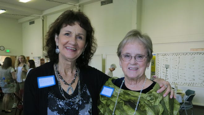 """Louisa Wistos of Bella Vista (left) and Martha Butow of Palo Cedro attend Another Chance Animal Welfare League's """"Rescue Me"""" Tea Party and Fashion Show on Feb 18 at the United Methodist Church in Redding."""