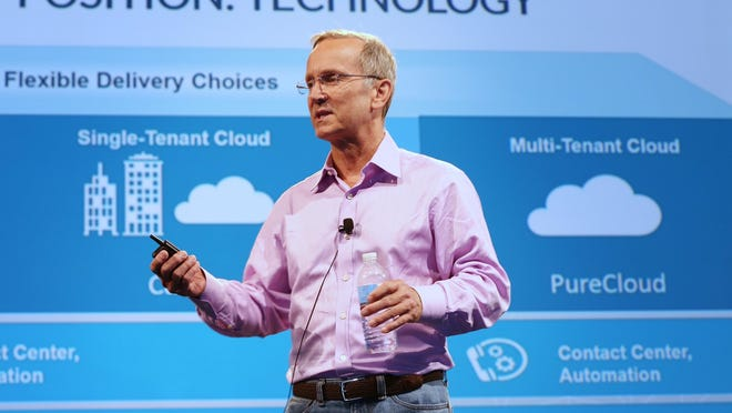 """Interactive Intelligence co-founder and CEO Don Brown describes his company's new software product, called PureCloud Engage, for a crowd of more than 1,000 at Interactive's annual customer conference June 11, 2015, at the Indiana Convention Center. """"We feel we're in a pretty darn good position,"""" Brown says. """"We think (PureCloud) is going to blow away anything that is out there in the cloud."""""""