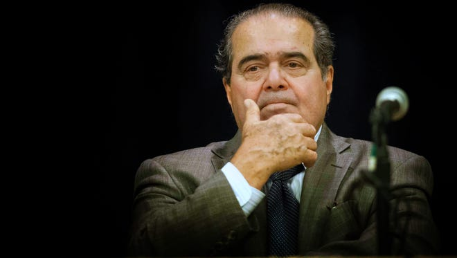 Supreme Court Justice, Antonin Scalia, is introduced as he speaks at a meeting of the Delaware State Bar Association at the Chase Center on the Riverfront in Wilmington Friday, Oct. 12, 2012.