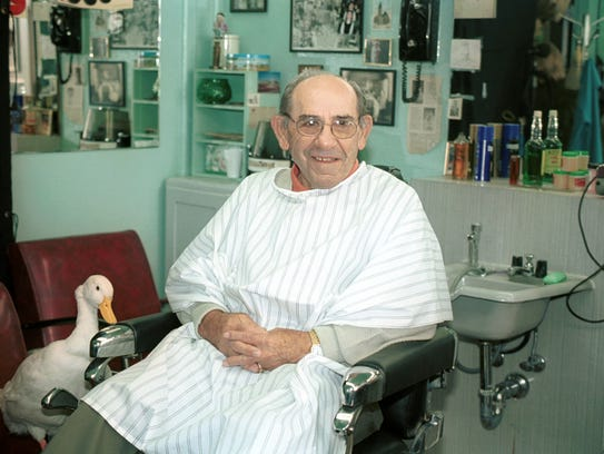 Yogi Berra on the set of an Aflac commercial.