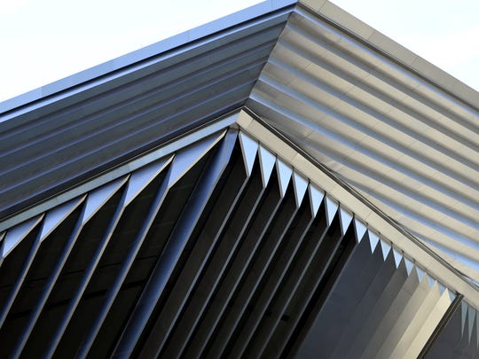 Detail on the Eli and Edythe Broad Art Museum on the Michigan State University campus. The building is by the late architect Zaha Hadid.