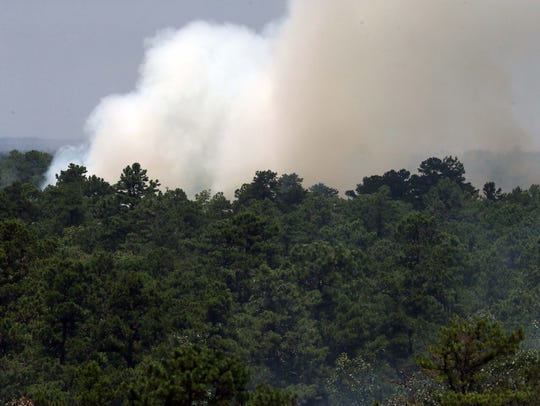 Smoke rises above the tree line as a fire burns at