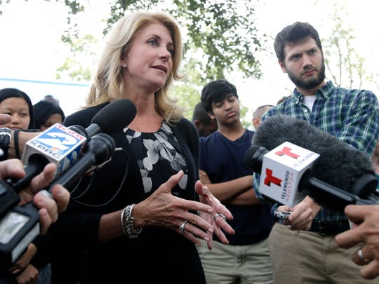 Texas Democratic gubernatorial candidate Wendy Davis speaks to supporters and media at a campaign event on Monday, Nov. 3, 2014, in Houston.
