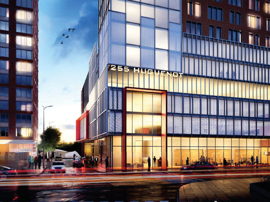 A conceptual rendering of 255 Huguenot Street in New