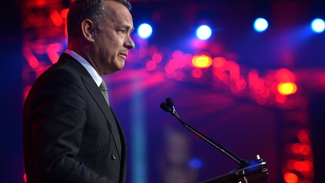 Honoree Tom Hanks accepts the chairman's award during the 25th annual Palm Springs International Film Festival awards gala  on Jan. 4.