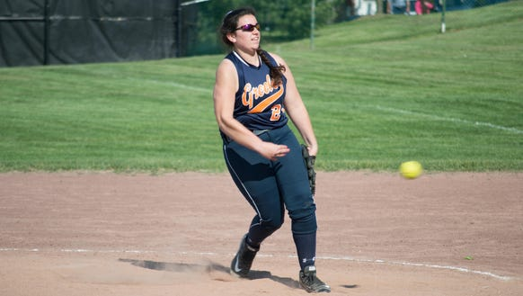Horace Greeley's Jackie Hoffman delivers a pitch in
