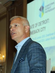 Eric B. Larson, president/CEO, Larson Realty Group and CEO, Downtown Detroit Partnership, was a featured speaker at Tuesday's real estate forecast breakfast in Birmingham.