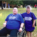 From left, couple Jene and Sharon Davis participate in the Brighton Walk to end Alzheimer's several years ago.