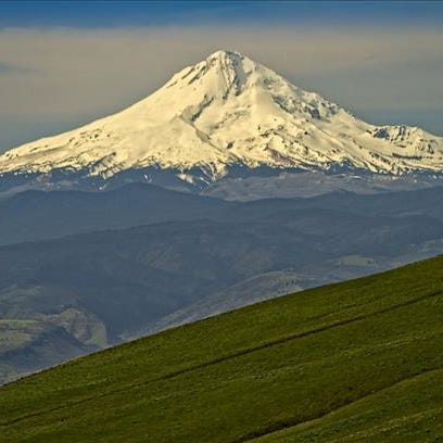 A view of Mt. Hood from The Dalles.