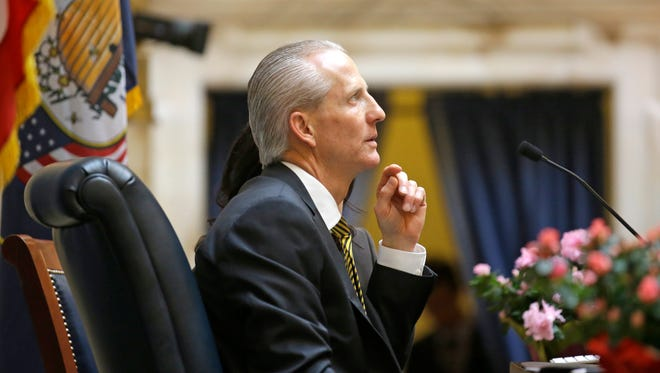 Senate President Wayne Niederhauser, R-Sandy, looks on during the opening day of the legislative session Monday, Jan. 25, 2016, in Salt Lake City. Utah lawmakers kick off their 45-day legislative session Monday with an endless stream of budget meetings and little bit of pomp and circumstance before diving deep into hundreds of bills.