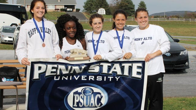 Saturday Penn State Mont Alto hosted the PSUAC Cross Country Championships at Norlo Park in Fayetteville, and brought home the conference women's title. Pictured from left to right are, Quinlan McLaughlin, Bintu Sherman, Savannah Dymond, Julianne Martinez, and Aubreigh Doran.