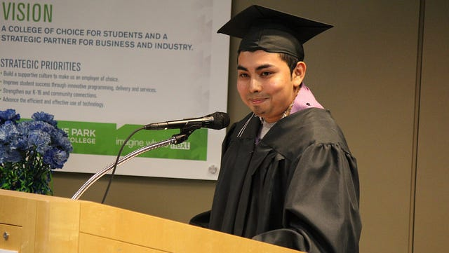 Nicholas Martinez of Fond du Lac served as a student speaker at Moraine Park's GED/HSED graduation ceremony.