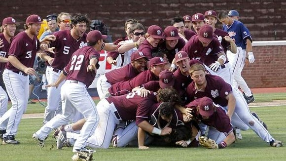 Mississippi State celebrates its victory against Virginia last year. It begins this year's journey in its 34th NCAA tournament appearance.