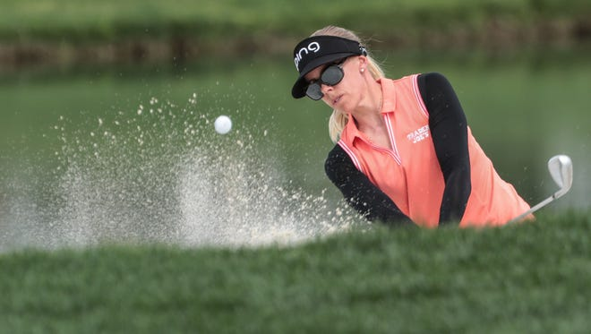 Pernilla Lindberg, of Sweden, in the sand on 5 during the 3rd round of the ANA Inspiration on Saturday, March 31, 2018 at Mission Hills Country Club in Rancho Mirage.