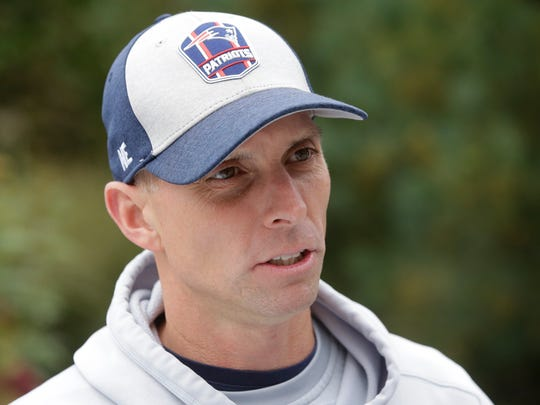 New England Patriots wide receivers coach Chad O'Shea speaks with reporters before an NFL football practice, Thursday, Nov. 1, 2018, in Foxborough, Mass. (AP Photo/Steven Senne)