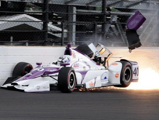 AJ Foyt Racing IndyCar driver Zach Veach (40) hits