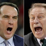 At left, in a March 29, 2015, file photo, Duke head coach Mike Krzyzewski yells during the first half of a college basketball regional final game against Gonzaga in the NCAA Tournament in Houston. At right, in a March 22, 2015, file photo, Michigan State head coach Tom Izzo directs his team against Virginia during the second half of an NCAA tournament college basketball game in Charlotte, N.C. Duke plays Michigan State in an NCAA college basketball national semifinal game on Saturday, April 4, in Indianapolis.