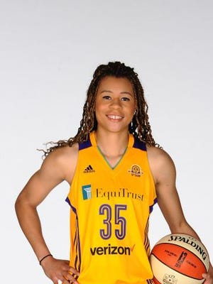 Whitney Knight #35 of the Los Angeles Sparks poses for a portrait during the Los Angeles Sparks media day on May 12, 2016 at St. Mary's High School in Inglewood, California. (Photo by Juan Ocampo/NBAE via Getty Images)