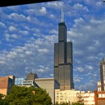 Chigago's 110-story Willis Tower, the nation's second-tallest office building, is seen at the center of this 2013 file photo.