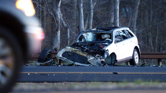 One person was killed in a single vehicle accident on the Garden State Parkway southbound near milepost 91.9 in Brick Township early Wednesday morning, April 13, 2016.