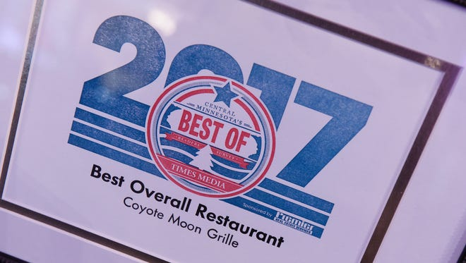 Last year, the 2017 Best Overall Restaurant award was presented to the Coyote Moon Grille during the Best of Central Minnesota Awards program at The Grands at Mulligans in Sartell.