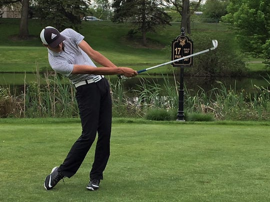 Nic Hoffman shot 74, tying for third individually, to lead Hartland to the title in the KLAA Association golf tournament on May 23, 2017 at Bay Pointe Golf Club.