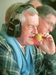 John Ward works during his last broadcast of a home