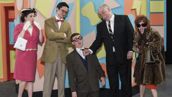 """Starring in the play the Ti-Ahwaga Players' """"How To Succeed In Business Without Really Trying"""" are, from left, Anna Simek as Rosemary, Ian McDonald as Pierpont Finch, Reidan Pitarresi as Bud Frump, William Clark Snyder as JB Biggley and Francesca Decker as Hedy LaRue."""