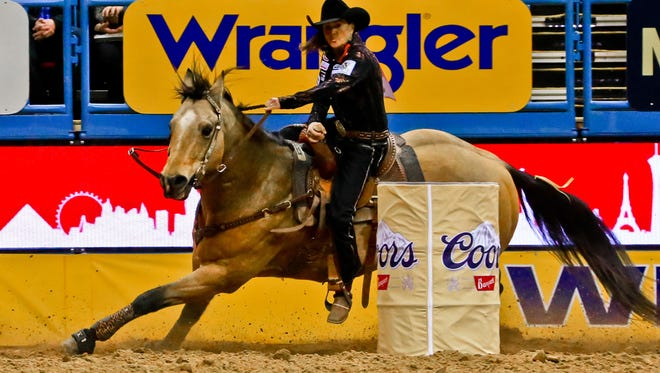 Lisa Lockhart, who grew up in Circle and lives now in South Dakota, won Friday night's second go-round at the National Finals Rodeo in Las Vegas. (Jackie Jensen file photo)