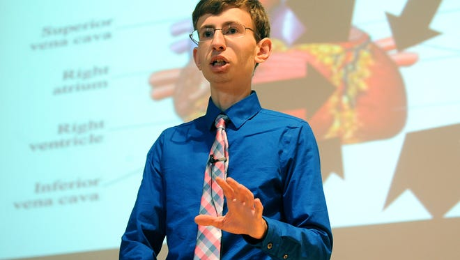 Drew Menner speaks Thursday afternoon at Reidl Hall on the OSUM campus about being a student with a disability.
