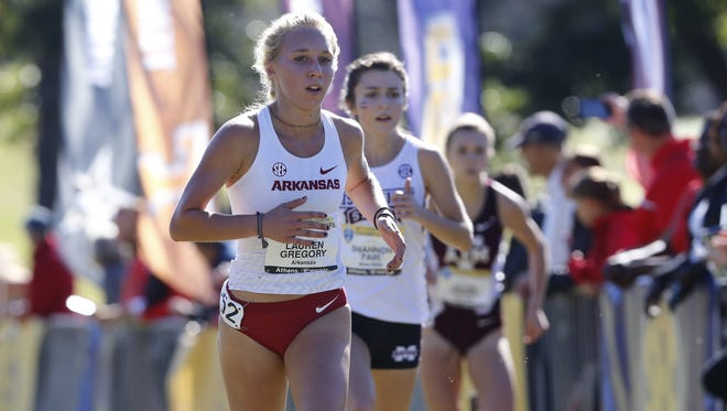 Arkansas' Lauren Gregory, shown here during the SEC Championships, was named the conference's' freshman of the year in cross country.