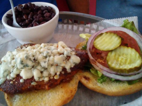 Sharky's black and blue chicken sandwich is a large