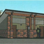 Architect rendering of proposed restrooms in West Bank Park.