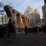 Super Bowl Village drew a crowd to Monument Circle in Downtown Indianapolis on the Friday before Super Bowl XLI in 2012.