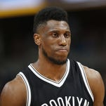 Brooklyn Nets forward Thaddeus Young (30) in the second half of an NBA basketball game Friday, March 4, 2016, in Denver. Brooklyn won 121-120 in overtime. (AP Photo/David Zalubowski)