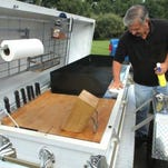 """Just Hearse 'N Around co-founder Frank Hendeen plans to tow his """"Casketeria,"""" a casket converted into a grill, to the 13th annual Hellfest Saturday in Hell."""