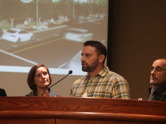 Daniel Knott of K2 Development Companies, center, speaks Friday to the Redding Planning Commission alongside John Mancasola, McConnell Foundation President and Chief Executive, right, and Rachel Hatch, McConnell's program officer.