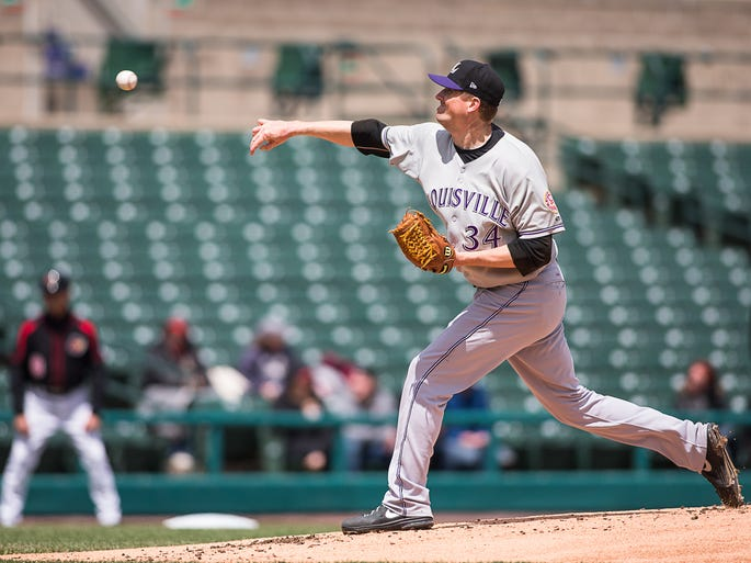 Chad Reineke, of Louisville, delivers during the first inning. The Red Wings won 12 - 6.