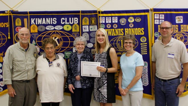 The Manitowoc Golden K Kiwanis Club recently honored Silver Lake College sophomore Abby Gallenberger with a $500 scholarship award for her 2016-2017 academic year. The award was presented in memory of long-time club member William Balzer. Present at the ceremony were, from left, scholarship chairman Dave Estes, Kiwanis president Diana Reynolds, Bill Balzer's wife Dolly, Gallenberger, Bill's daughter Ann, and Abby's dad Bob Gallenberger.