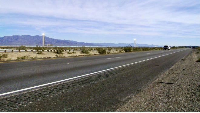 This photo illustration depicts what BrightSource Energy's Palen solar project would look like from Interstate 10.