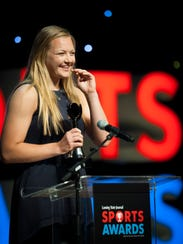 Mason's Autumn Kissman speaks at last year's LSJ Sports Awards gala at Wharton Center after being named Female Athlete of the Year.