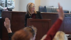 Marsha Blackburn answers questions at a town hall meeting
