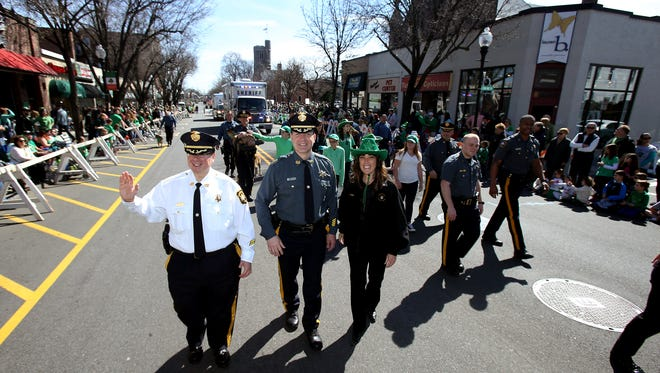 With temperatures in the mid-60's the 38th annual Morris County St. Patrick's Day Parade, one of the largest in the state, drew tens of thousands of spectators and marchers to the streets of Morristown. March 12, 2016. Morristown, N.J.