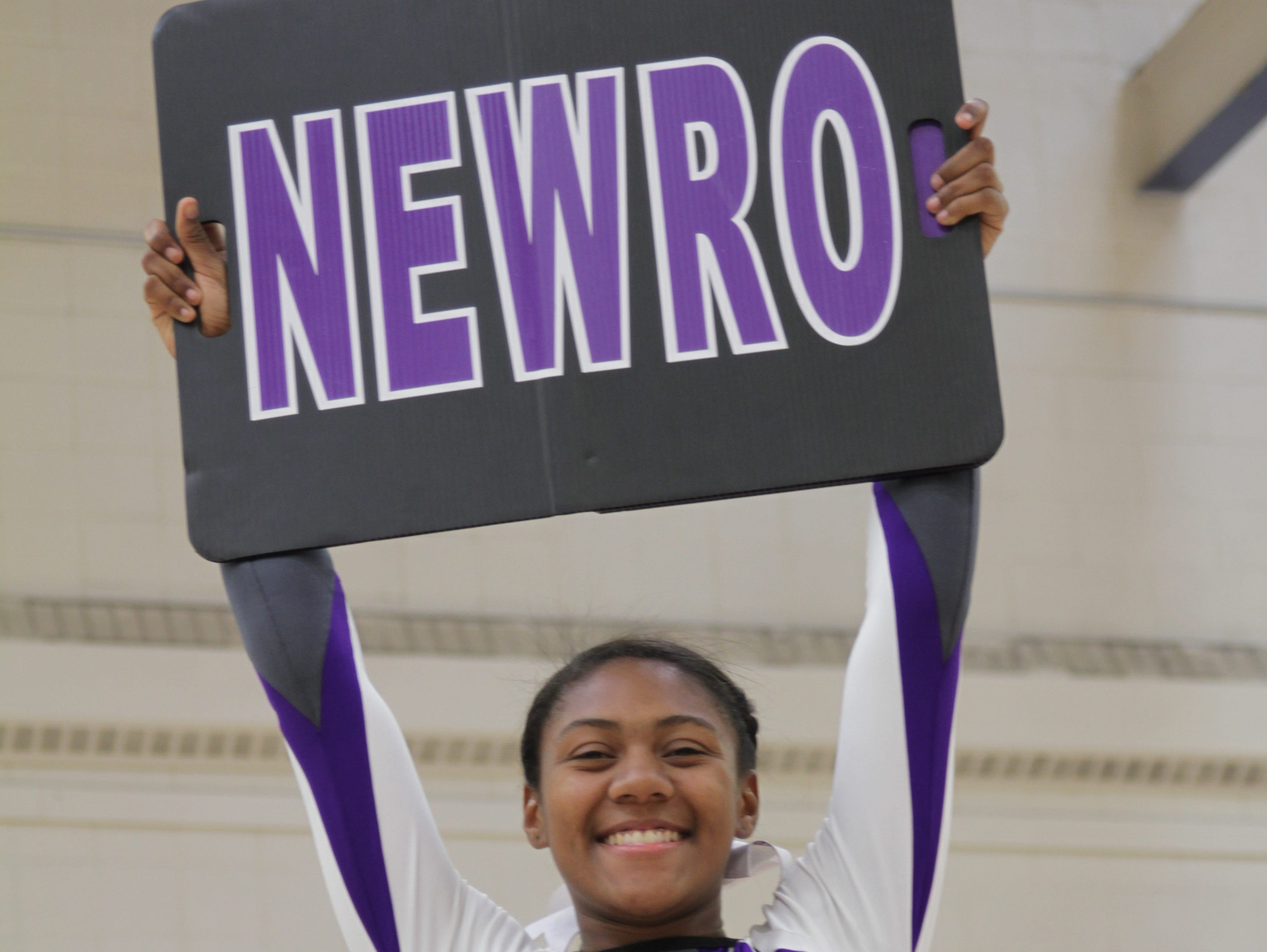 The 2016 Westchester/Putnam Cheerleader of the Year, New Rochelle's Ade Cornelius, posing at New Rochelle High School.