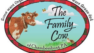 The Family Cow logo for the organic farm in Greene Township.