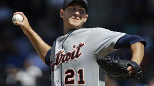 Detroit starter Rick Porcello throws during the first inning. (AP file photo/Seth Wenig)