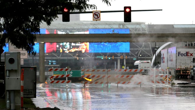 Underpass on Jefferson to M-10 Lodge freeway was closed due to flooding, rain snarled roadways all over the metro Detroit area on Thursday, September 29, 2016.