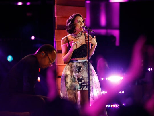 "Amy Vachal performs ""blank Space"" for a spot in the Top 10."