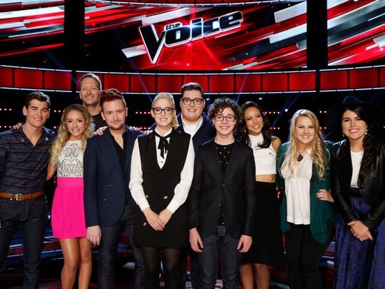 "The Top 10 of ""The Voice"" (l-r) Zach Seabaugh, Emily"